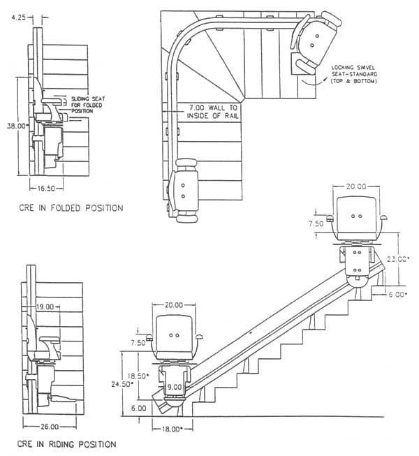 Stairlifts bruno electra ride iii information nyc nj for Elevator plan drawing